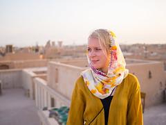 Rooftops of Yazd, Iran (TeunJanssen) Tags: yazd iran sunset goldenhour golden desert mudbrick mud pastel olympus omd omdem10 backpacking travel traveling worldtravel worldtrip middleeast portrait woman scarf smile