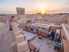 Sunset in Yazd, Iran (TeunJanssen) Tags: yazd iran sunset goldenhour golden desert mudbrick mud pastel olympus omd omdem10 backpacking travel traveling worldtravel worldtrip middleeast view sun hdr restaurant wideangle
