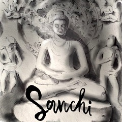 The buddha at Sanchi (niharikashenoy) Tags: sanchi madhya pradesh travel journal sketching illustrator illustration buddha india niharika shenoy
