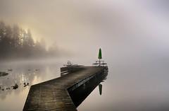 The Close Of Summer (jeanmarie's photography) Tags: cottagelake umbrella morning mist moody lake light landscape fog foggy sunrise serene nikond810 tamronlens dock m jeanmarieshelton outside water