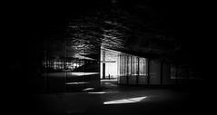 Réflexion(s) (elgunto) Tags: barcelona people museublau light highcontrast geometry architecture street dark mirrors windows reflection silhouette monochrome blackwhite sonya7 uwa konicaminolta minoltaaf1735mmf284