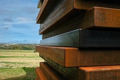 One of Sean Scully's stacks (Moor Shadow Stack) at the Yorkshire Sculpture Park (Allan Rostron) Tags: yorkshiresculpturepark moorshadowstack seanscully