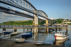 Crossings (suerowlands2013) Tags: saltash secornwall brunelbridge tamarbridge saltashwaterfront boats river eveningsunshine pier reflections riverbeach rivertamar railwaybridge