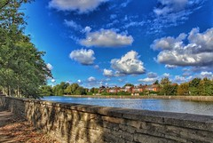 A sunny day in Hull!😁🌞😁 (LeanneHall3 :-)) Tags: lake wall treetrunk trees leaves branches brown green grass houses buildings blue sky skyscape white clouds talkativeclouds fluffyclouds cloudsstormssunsetssunrises landscape canon 1300d groupenuagesetciel