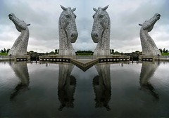 The Kelpies and a panorama created from them (WISEBUYS21) Tags: kelpies falkirk scotland horse horses head still water reflection reflections grey sky stirling edinburgh panorama metal public art artwork sculpture its best amazing breath taking wisebuys21 calm calmness tranquil stunning five million pound tourist attraction scale this place is united kingdom uk