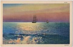Triton Beach Postcard (Piedmont Fossil) Tags: chesapeake bay maryland vintage postcard ephemera sailboat boat sunrise sunset tritonbeach