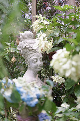 Garden statue. A beautiful stone statue of a woman with a turban and flowers on her hair in the mysteriously secret garden. (enchanted.fairy) Tags: ancient angel antique architecture art background bath beautiful beauty bird boboli central city classic classical clotilde conservatory culture decoration face female figure flowers garden gardens girl goddess greek green history landmark marble nature old ornamental ornaments park plant rio santa sculpture spain statue statues stone summer tree turban white woman