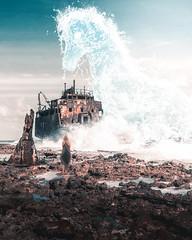 SEA HORSE (@phanttoni) Tags: phanttoni anttoni salminen photoshop photomanipulation water horse image manipulation outdoor woman standing boat ship sky blue