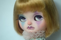 Clarabell (Art_emis) Tags: clarabell custom icy doll ooak handmade hand painted reshaped altered mouth shape nose blond hair sad little girl clown character art work photography artemis