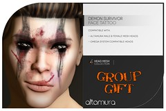 AG Demon Survivor Face Tattoo UNISEX Group Gift (Omega compatible) (Altamura Bento Avatar) Tags: altamura avatar applier altagroup altamurathefutureoffashion altamuragroup altamurabentoavatar bento body bentoavatar beauty bentohead bentomeshhead tattoo face omegasystem omega compatible