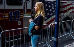 """10"" (bigbuddy1988) Tags: blond girl woman pretty sexy flag nikon f5 portrait photography people 35mm film kodak kodacolor city manhattan nyc newyork blue new art usa analog"