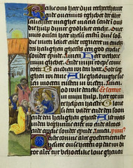 Horae Beatae Mariae Virginis [BC MS 7] f. 216: The Adoration of the Magi Netherlands (c. 1490-1500) MS link: https://explore.library.leeds.ac.uk/special-collections-explore/372689 (medievalpoc) Tags: art history illuminated manuscript medievalpoc netherlands 1400s the adoration magi black king medieval ms
