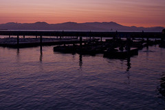 Calm Bay (brucetopher) Tags: twilight sunset evening waterfront water sea ocean tour travel tourism tourist sanfrancisco bay marina wharf dock docks pier pink purple harbor empty afterglow glow orange red reflection sky skies