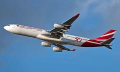 3B-NBJ - Airbus A340-313E - LHR (Seán Noel O'Connell) Tags: airmauritius 3bnbj airbus a340313e a340 a343 heathrowairport heathrow lhr egll 27r mru fimp mk53 mau53 aviation avgeek aviationphotography planespotting