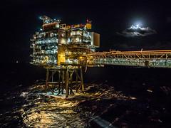 Full Moon Offshore (Craig Hannah) Tags: fullmoon moon offshore northsea night nightsky clouds sea oil oilrig platform gas longexposure lights september 2018 craighannah scotland industry industrial bridge