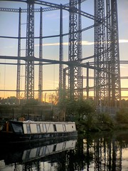 Hackney Evening II (marc.barrot) Tags: london hackney containerville regentscanal canal sunset urban landscape boat blue yellow reservoir