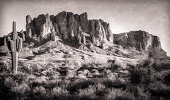 Superstition Mountain - Textured (byron bauer) Tags: byronbauer texture duotone painterly superstition mountain apache junction gold canyon arizona saguaro cactus brush scrub cliff sky outdoor landscape desolate southwest desert
