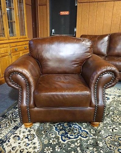 Lacrosse brown leather club chair ($168)