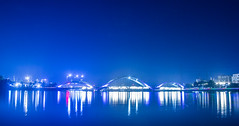 Hatir Jheel , Dhaka (ismambhuiyan) Tags: night nightlandscape nightphotography blue bluesky nightsky bridge lightandshadow highspeedphotography longexposure longexposurephotography cloudy cloud landscape landscapephotography
