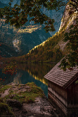 The boathouse (agialopoulos) Tags: mountain landscape landschaft lake germany bavaria königssee obersee berge peaks peak alps natur nature nationalpark autumn clouds sky water forest boat hut