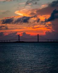 Sunset at Sidney Lanier Bridge (Brandon Westerman WNP) Tags: sunset sidney lanier bridge ocean clouds jekyll island fishing pier water