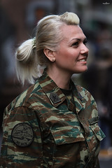 backstage of a parade 01 (dim.pagiantzas | photography) Tags: woman women people portrait face smile military army uniform bokeh blonde camouflage colors canon light ambient environment character