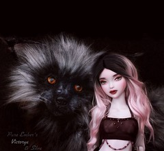 🐺 Viktorya (pure_embers) Tags: pure embers bjd msd 14 doll dolls uk youpladolls vana youpla girl viktorya pureembers embersviktorya photography photo ball joint white purple resin portrait dark ombre hair silver fox artdoll animal friends fantasy magical