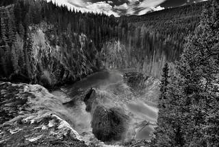 Wapta Falls and Beyond (Black & White, Yoho National Park)