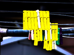 Not on a Level Pegging (Steve Taylor (Photography)) Tags: peg digitalart black blue yellow white green purple plastic wire metal newzealand nz southisland canterbury christchurch northnewbrighton outline pegs washingline