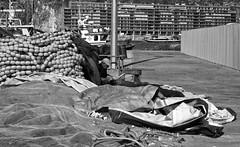 Fisherman's Delight (annie.cure) Tags: fisherman sea atmosphere city waves texture mysterious net canon 750d view blackandwhite monochrome mood porto portugal portrait details dark afurada man work light alone photojournalism