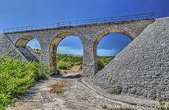 The bridge (Ivo.Berta) Tags: bridge viaduct road sky train croatia europe architecture blue green summer holiday