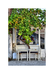 A meal for two (CJS*64) Tags: skiathos greece colour travel travelling cjs64 craigsunter cjs table dine chairs tree