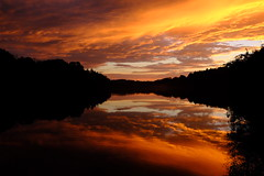 Sunset at the reservoir (David Guidas) Tags: peters reflections autumn fujifilm xt3 orange lake water