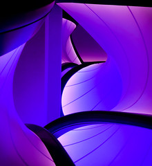 the passageway (Reflectory (Chris Brown)) Tags: abstract abstraction nonobjective architecture nopeople vertical portrait blue magenta black white curve curves line lines stretched fabric zaha hadid science museum reflectory