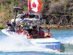Group from Canada (thomasgorman1) Tags: boat skiing towboat boating group canada flag river canon outdoors recreation sports women people men fun water rope