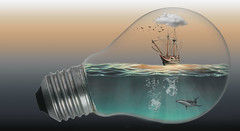 Light bulb (https://tinyurl.com/jsebouvi) Tags: lightbulbwithship miniature child sea whale water ocean cloud birds sky electric color top collage invention creation new imagination
