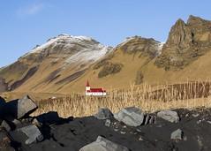 Vik church (hazelhouliston) Tags: beach blue sky mountain blackbeach vik iceland church