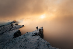Switzerland (marinaweishaupt) Tags: switzerland landscape travel outdoor person winter snow sunrise morninglight clouds peak cliff hiking running