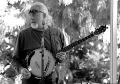 Banjo-Man, Morton Arboretum. (EOS) (Mega-Magpie) Tags: canon eos 60d outdoors music musician people person guy man dude fella the morton arboretum lisle il dupage illinois usa america bw black white mono monochrome tree banjo