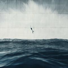 at your own risk (Dyrk.Wyst) Tags: monochrome compositeimage 3deffect digitalart creativephotography ocean diver waves clouds cloudburst surreal risk jump male textures blue marine minimal agentur meatltexture blur conceptual