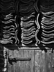 Shed with Stacked Tiles2 (jhotopf) Tags: northyorkshire whitby d7000 nikon noiretblanc blancoynegro blackwhite