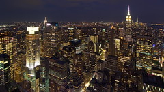 Midtown from above (sonic182) Tags: view midtown manhattan from top rock empire state building metlife new york city ny usa usa2018 skyline skyscraper skyscrapers long exposure blue hour evening night dusk