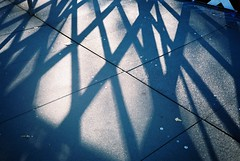 Gaol Ferry Bridge shadows (knautia) Tags: commute gaolferrybridge riveravon bristol england uk october 2018 film ishootfilm olympus xa2 olympusxa2 kodak kodacolor 200iso nxa2roll83 bridge footbridge shadows commuting