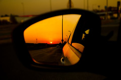 Take A Look In the Mirror (NickLesta) Tags: mirror car sunset hungary drive road sun orange colour automn