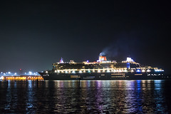 Cunard - RMS Queen Mary 2 Entering Southampton 18.10.2018 (thephantomzone2018) Tags: cunard queen mary 2 thephantomzone2018 southampton ship solent water england hythe unitedkingdom phantom p4p aerial abp arrival above drone dji docks gb glowing hampshire harbour liner cruise cruises boat nikon night d3100