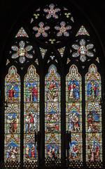 Melton Mowbray, St Mary's church, East Window (Jules & Jenny) Tags: stmaryschurch stainedglasswindow meltonmowbray eastwindow wailes parable