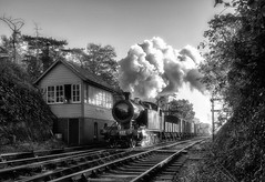 Early Morning Freight No. 2 (photofitzp) Tags: 4270 atmosphere bw bewdley blackandwhite freight gwr mattfieldingcharters railways svr smoke steam uksteam
