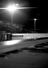 635-BN8/118A (Jock?) Tags: sydney sircharleskingsfordsmith airport mascot qantas qf boeing 767 767338er vhogm night flight passenger aviation blackandwhite bw film vintage retro nikon f3 nikkor 55mmf12k kodak tmax 400 tmy2 5053 push 2 ei 1600