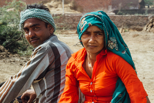 Indian Village Couple on Motorbike, Uttar Pradesh India