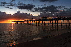 Sunset over the Venice Fishing Pier, Venice, Florida (diana_robinson) Tags: sunset pier gulfofmexico clouds vacationspot traveldestination dramaticsky venicefishingpier venice florida